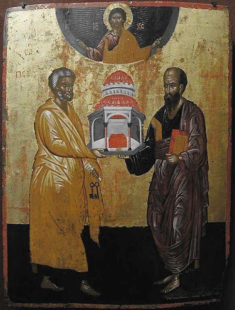Старинна икона на светите апостоли Петър и Павел