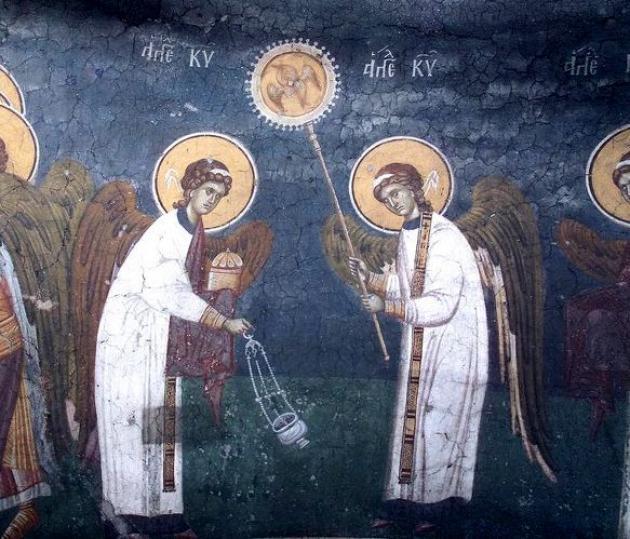 Църковен стенопис - Велик вход и Херувимска песен